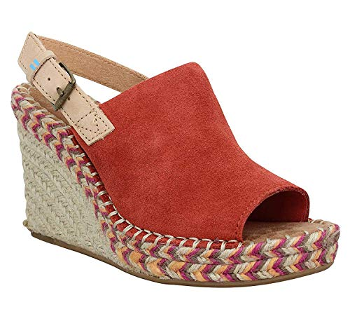 TOMS Women's Monica Wedge, Size: 7 B(M) US, Color: Spice Suede/Leather
