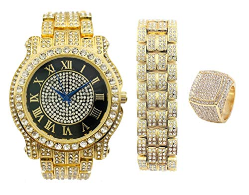 King Kickin' Real Hip Hop with This Color Bling Bling Watch with Gold Iced Matching Bracelet and Ring - Say The King Home Wearing Luxury Gold Tone Bling-ed Out Timepiece - L0504MBR King Blue (8) from Charles Raymond
