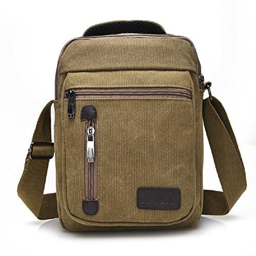 Ecokaki(TM) Canvas Crossbody Everyday Satchel Bag Shoulder Messenger Bag iPad Travel Portfolio Bag