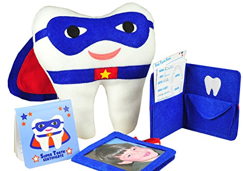Tickle & Main - Tooth Fairy Superhero Pillow with Notepad and Keepsake Pouch. 3 Piece Set Includes Boy's Pillow with Pocket, Dear Tooth Fairy Notepad, Keepsake Photo ()