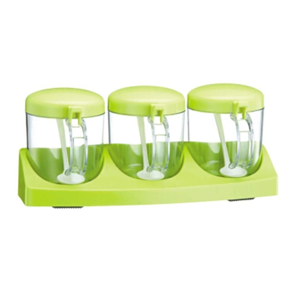 MINGRUIGONGMAO Food grade salt shaker seasoning box, transparent three grid set kitchen supplies Plush toys (Color : Green) by MINGRUIGONGMAO