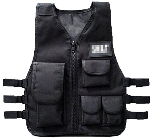 (GSKids Tactical Vest Children Adjustable Outdoor Clothing Black Large)