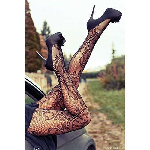 One Size Floral Pattern Jacquard Ladies Fishnet Pantyhose Women Tights - Brow Bar London