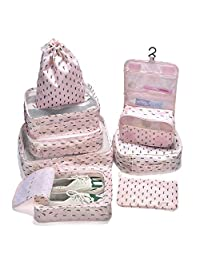 Arxus 8 Set Travel Waterproof Packing Organizers Cubes with Shoe Bag and Toiletry Bag (Cactus Print)