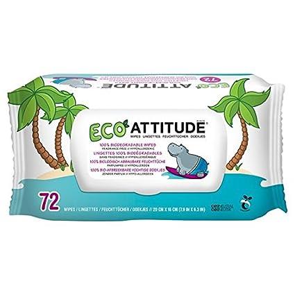 Actitud Eco Toallitas 100% biodegradable 72 por paquete