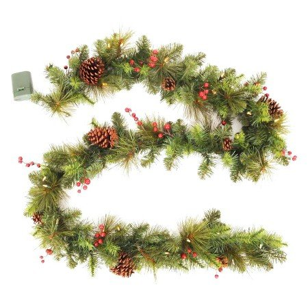 9 Ft LED Pre-Lit Battery Operated Christmas Garland w/ Pinecones and Berries - 45 Mini Warm White LED Lights