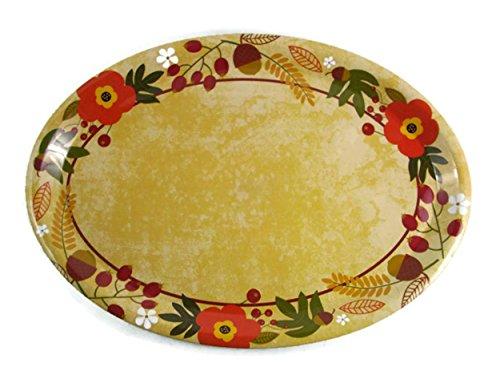 Blossom Oval Serving Platter - Autumn Blossoms Theme Oval Serving Platter - 16 1/2 Inches x 11 1/2 Inches