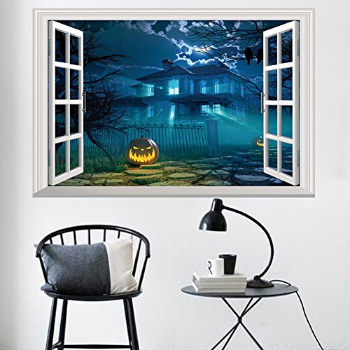 3D Large Removable Sea Beach Vinyl Wall Decal Sticker for Dining Room, Bedroom,Window (Halloween House 1054(48x72cm))
