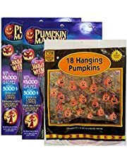 Raincoast Goods Halloween Bundle of 3 Items Including 2 Pumpkin Masters Pumpkin Carving Kits Each with 5 Tools and 10 Patterns and 1 Pack of 18 Hanging Pumpkin Leaf Bags (8 X 12 Inches) with Twist Ties