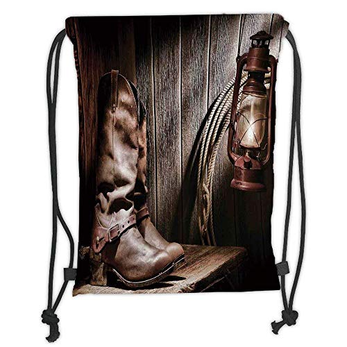 Custom Printed Drawstring Backpacks Bags,Western Decor,Dallas Cowboys and Lantern on a Bench in Vintage Ranch Nostalgic Folkloric Print,Brown Soft Satin,5 Liter Capacity,Adjustable String Closure
