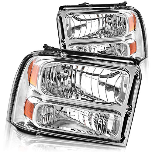 Headlights Assembly for 2005 2006 2007 Ford F250 F350 F450 F550 Super Duty/ 05 Ford Excursion Headlamp Replacement,Chrome Housing