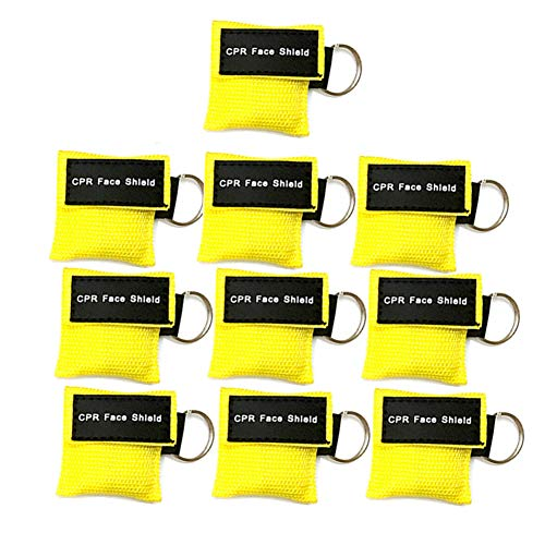LSIKA-Z Pack of 10pcs CPR Face Shield Mask Keychain Ring First Aid Kit CPR Face Shields for First Aid or CPR Training (Yellow-10)