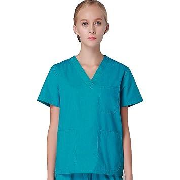 OPPP Ropa médica Ropa de Lavado hospitalario Trajes de Manga Corta Batas de algodón Abrigos de