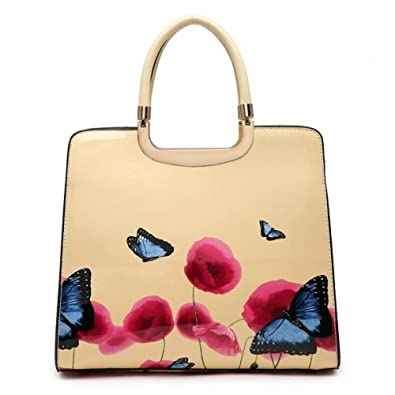 Ladies Patent Butterfly Poppy Handbag - Women s Floral Shoulder Bag Tote Bag  MA36009 (Apricot)  Amazon.co.uk  Shoes   Bags 1e47a673a580c