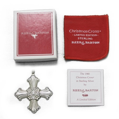 1985 Christmas Cross Sterling Ornament by Reed & Barton Reed & Barton Christmas Cross