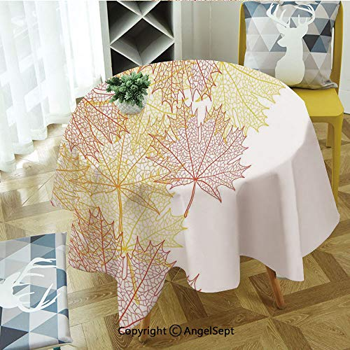 Round Tablecloth Pattern with Maple Tree Fall Leaves