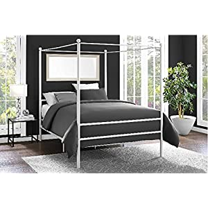 Mainstays Easy to Assemble Modern Design QUEEN Size Sturdy Metal Frame Four Post Canopy Bed in White