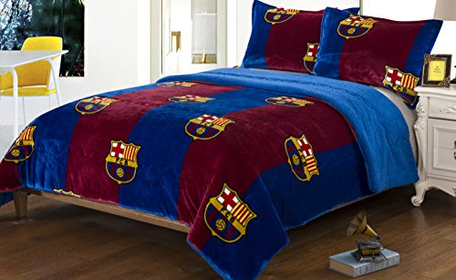 FCBarcelona 2pc Twin Blanket set with Sherpa Lining and 1 pillow sham