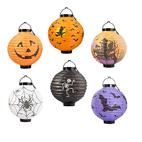 FUNISFUN Halloween Pumpkin Jack o Paper Lanterns with LED Light, Pack of 6, Spider Web Bat Skeleton Indoor Outdoor Yard Holiday Party Decorations by FUNISFUN