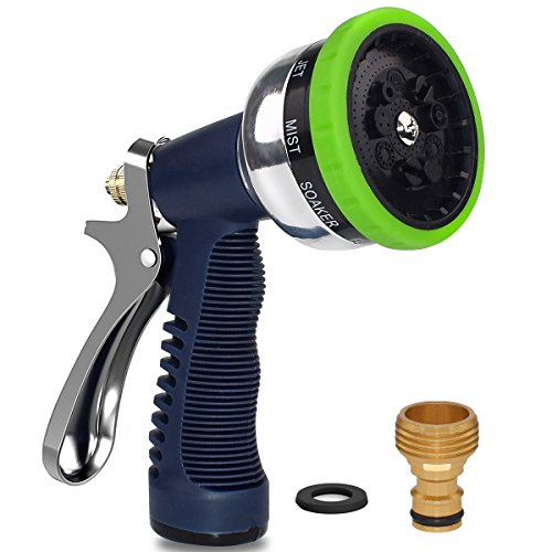 Alitutumao Garden Hose Nozzle Spray Nozzle, Heavy Duty Metal Nozzle Sprayer 9 Adjustable Patterns High Pressure Anti-slip Water Nozzle for Watering Plants, Cleaning, Car Wash and Showering Dog Pets