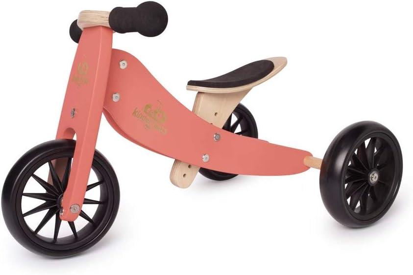 Kinderfeets TinyTot Bicicleta de Equilibrio de Madera y Triciclo Convertible sin Pedal, Triciclo de Equilibrio para niños y Bicicleta de Empuje