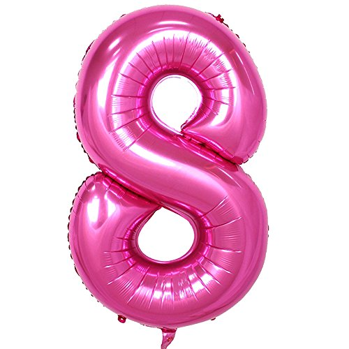 LANGXUN 40inch Pink Foil Number 8 Balloons for Birthday Party Supplies and Birthday Decorations and Birthday Photo Booth Props (PINK-8) (Number Party Birthday 8)