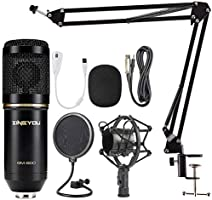 ZINGYOU Condenser Microphone Bundle, BM-800 Mic Kit with Adjustable Mic Suspension Scissor Arm, Shock Mount and...
