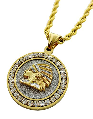 Exo Jewel Diamond Framed Stainless Steel Medallion Pendant Necklace with 24