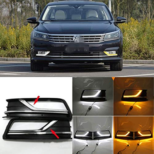 [해외]Auto-Tech LED light Daytime Running Light Retrofit LED yellow light color with Turn signal DRL kit For Volkswagen VW New Passat 2016-2017 (white to yellow light) / Auto-Tech LED light Daytime Running Light, Retrofit LED yellow ligh...