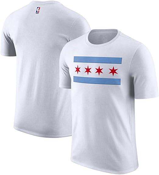 RENJUN Camiseta de los toros de Baloncesto de los Hombres Jersey de Manga Corta Cuello Redondo algodón Estampado Puro Jersey Deportivo Camiseta de Baloncesto (Color : A, Size : XS): Amazon.es: Hogar