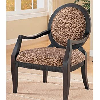 ADF Accent Chair With Leopard Print In Black Finish