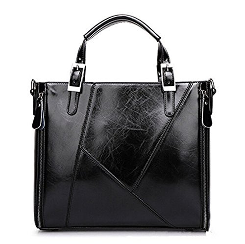 Santwo Double Use Leather Top-handle Handbag Or Coss-body Bag For Women/lady/girls Black Bb0086-4