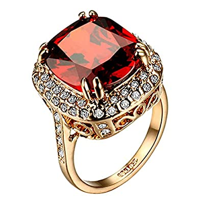 Yoursfs Ruby ring For Women Engagement Big Zircon CZ Stone Statement Rings Fashion Jewelry
