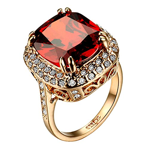 Yoursfs Large Cocktail Rings For Women Fashion Rose Gold Plated Jewelry Red Big Crystal Halo Ring Gift