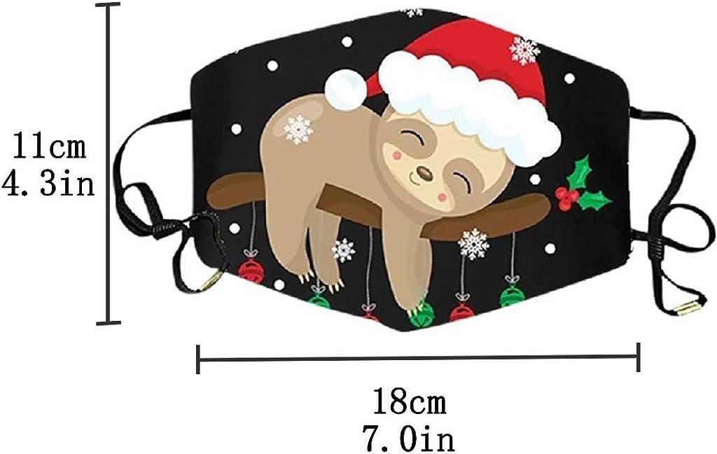 10,M Mundschutz mit Motiv Weihnachten Faultier Sloth Lama Cartoon 3D Lustig Motive Mund Nasenschutz Waschbar Damen Herren Kinder Jungen M/ädchen Christmas Bunt Multifunktionstuch Bandana Halstuch