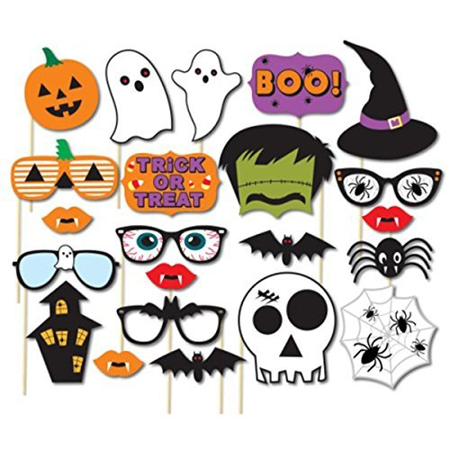 Easy Halloween Props (Tinksky 22pcs Holloween Prop Photo Booth Props DIY Kit for Party Supplies Featuring Boo Pumpkin Ghost Halloween Decorations Birthday Party Photo Booth Props)