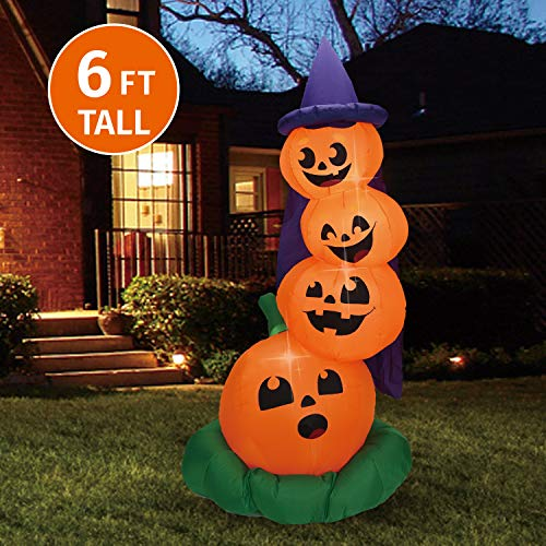 Joiedomi Halloween 6 FT Inflatable Stacked Pumpkins with Build-in LEDs Blow Up Inflatables for Halloween Party Indoor, Outdoor, Yard, Garden, Lawn