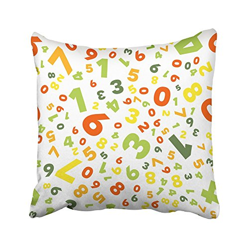 Emvency Decorative Throw Pillow Covers Cases Mathematics Different Numbers in Random Colorful School for Children Multicolor Math Colors Red 20X20 Inches Pillowcases Case Cover Cushion Two Sided