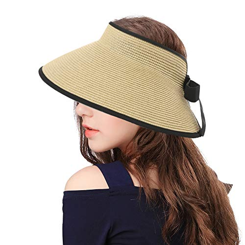 Womens Ladies Summer Beach Fashion Back Visors Roll Up Floppy Ponytail Sun Protection Open Top Straw Bow Hats Beige]()