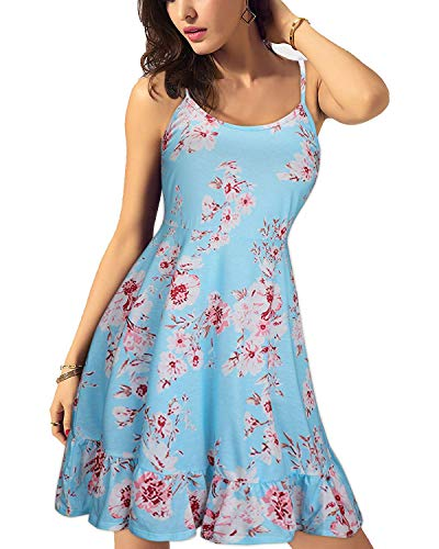 KILIG Women's Floral Print Sundress Adjustable Spaghetti Strap Sleeveless Summer Swing Dress(C013,L)