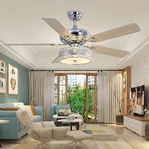 LuxureFan 52Inch 3 Lights Crystal Ceiling Fan with Remote Control and 5 Wood Blades Led Chandelier Fan Decoration Home