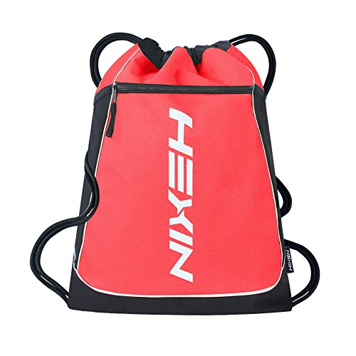 HEXIN Drawstring Sports Outdoor Gym Sack Backpack for Men&Women Red