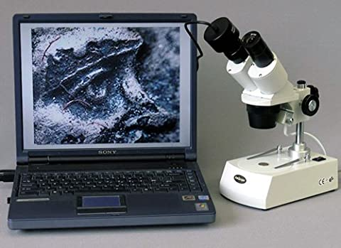 AmScope SE305R-PZ-MT Digital Forward-Mounted Binocular Stereo Microscope, WF10x and WF20x Eyepieces, 10X/20X/30X/60X Magnification, 1X and 3X Objectives, Upper and Lower Halogen Lighting, Reversible Black/White Stage Plate, Pillar Stand, 120V, Includes 1.3MP Camera with Reduction Lens and (Binocular 60x)