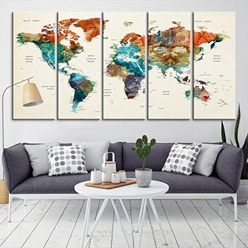 Amazon.com: Modern Large Wall Art World Map Push Pin Travel ...