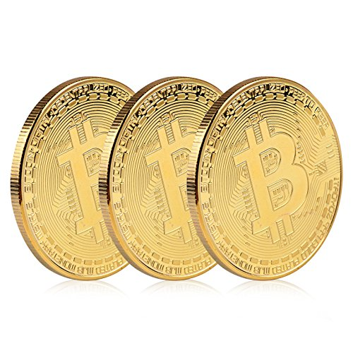 24k Commemorative Coin - Gold Bitcoins Set 24K Gold Plated BTC Commemorative Coin Limited Edition Collectible Coin with Protective Case - 3PCs