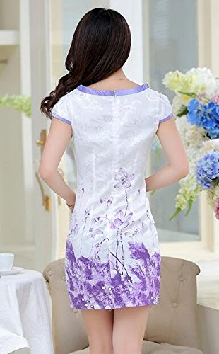 Lora Purple Cheongsam Lotus Printed Aro Women's Dress Rzvz8
