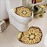 L-QN Non-Slip Bath Toilet Mat Decor Trippy Ethnic Thai Mandala Motif Dirty Grunge Smear Rough Stains in Bathroom Accessories