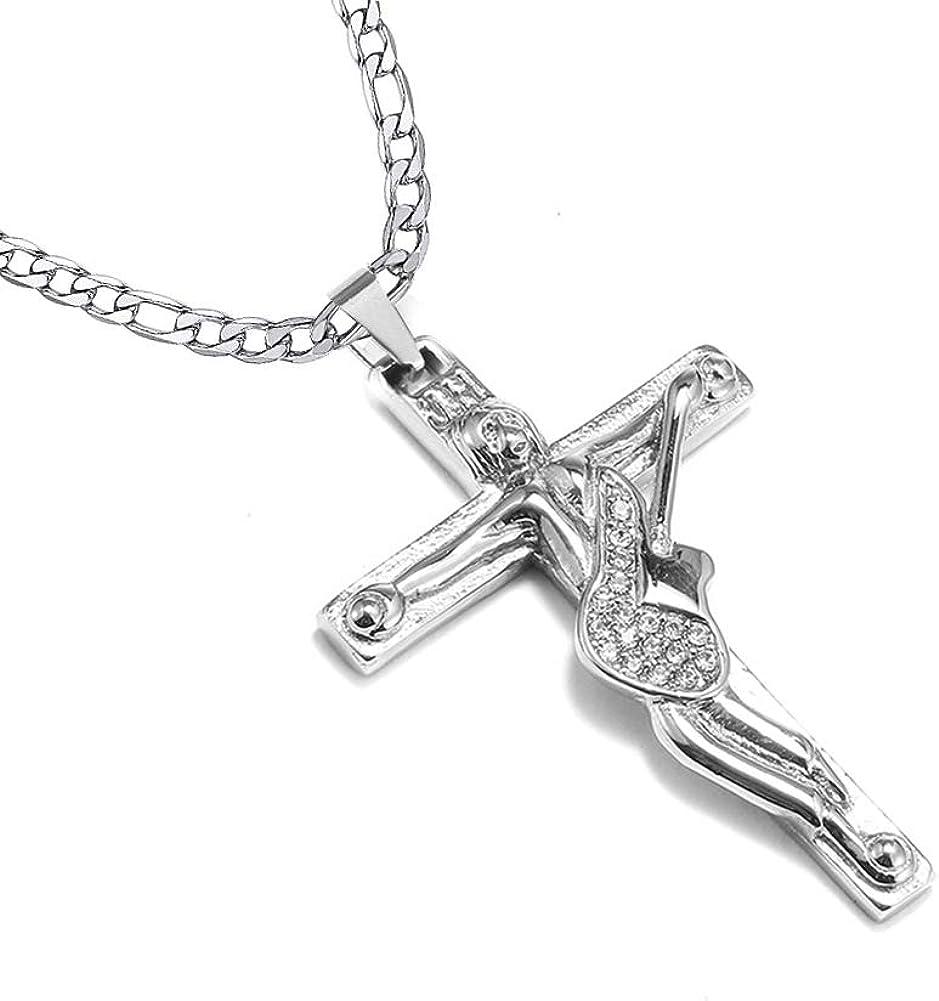 AFSTALR Croix Johnny Hallyday Pendentif Collier Cha/îne Johnny Guitare Rocker Signature M/étal Argent/é Femme Homme Cadeau