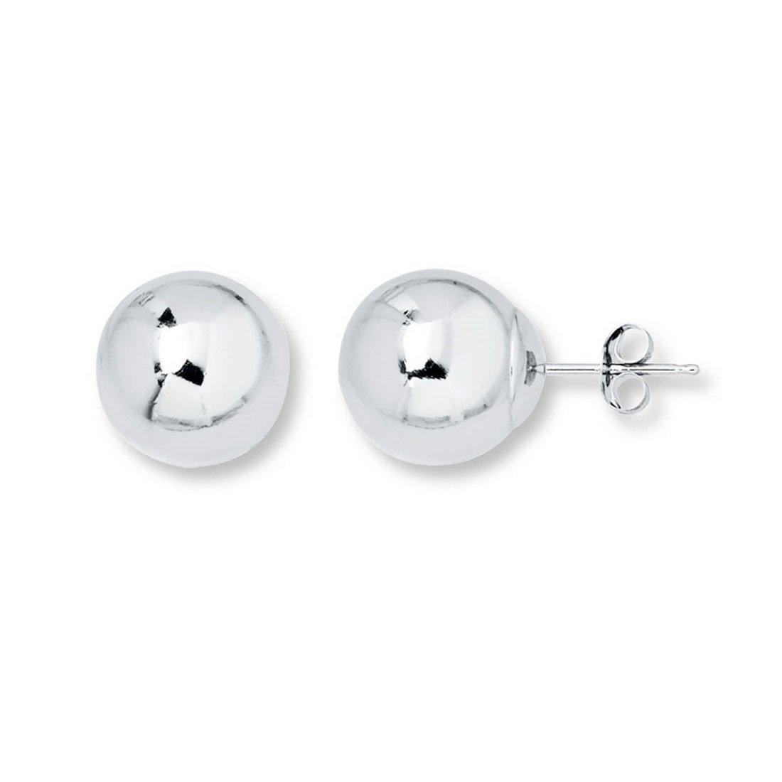 14K Real White Gold Ball Stud Earrings