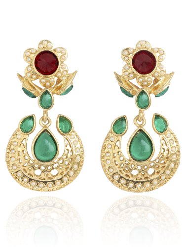 Touchstone Gold Tone Indian Bollywood Faux Pearls Ruby Emerald Exclusive Designer Jewelry Long ()